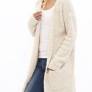 Forever 21 Popcorn Sweater Ivory White Size M